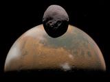 Artist's Concept of Mars and its Tiny Moon Phobos Fotografie-Druck von  Stocktrek Images