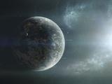 Fleet of Colonization Ships Departing an Earth-Like Planet Fotografie-Druck von  Stocktrek Images