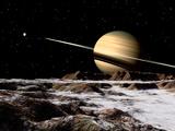Saturn Seen from the Surface of its Moon, Rhea Fotografisk trykk av Stocktrek Images,
