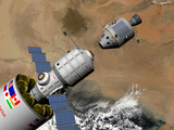 A Command Module Prepares to Dock with a Phobos Mission Rocket in Earth Orbit Fotografie-Druck von  Stocktrek Images