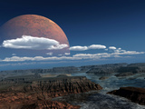 A Moon Rises over a Young World Premium Photographic Print by  Stocktrek Images