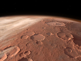 Heavily Cratered Highlands on the Surface of Mars Fotografie-Druck von  Stocktrek Images