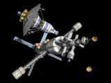 A Manned Mars Lander/Return Vehicle Disembarks from a Mars Cycler Fotografie-Druck von  Stocktrek Images