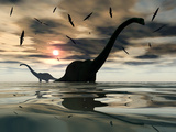 Diplodocus Dinosaurs Bathe in a Large Body of Water Fotografie-Druck von  Stocktrek Images