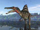 En spinosaurus på jagt efter sit næste måltid Fotografisk tryk af Stocktrek Images,