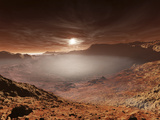 The Sun Sets over the Eberswalde Region of Mars Photographic Print by  Stocktrek Images
