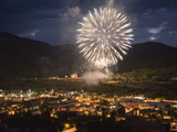 Fourth of July Fireworks in Durango, Colorado Reproduction photographique par Scott S. Warren