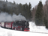 Meter-Gauge 2-10-2T Steam Locomotive 99 7241-5 in a Snowy Landscape Photographic Print by Kent Kobersteen