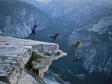 Climbers BASE jump from Half Dome and hike down the back of the mountain. Fotografie-Druck von Jimmy and Lynsey Chin and Dyer