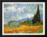 Korenveld met cipressen, ca.1889 Posters van Vincent van Gogh