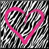 Hjerte med zebrastribet baggrund Monteret tryk af Louise Carey