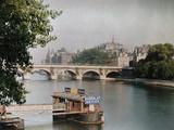 A View of the River and a Bridge Lámina fotográfica por Courtellemont, Gervais