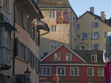 A Clock Tower and Buildings in Zurich's Old Town in the Morning Reproduction photographique par Greg Dale