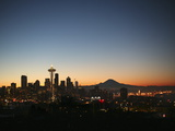 Seattle Skyline with the Space Needle and Mount Rainier at Dusk Photographic Print by Aaron Huey