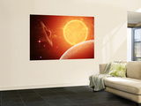 A Planet and its Moon Resisting the Relentless Heat of the Giant Orange Sun Pollux Wall Mural by  Stocktrek Images