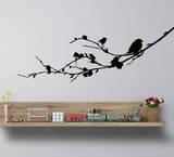 Bird On A Branch Medium (Left)-Black Wandtattoo