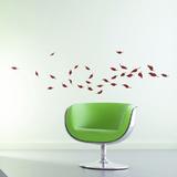 Lehdet tuulenpyörteessä - viininpunainen Seinätarra