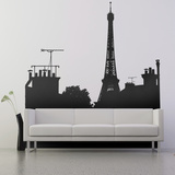 On the Roofs, View C-Medium-Black Wall Decal