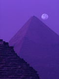 Moon and Pyramid of Khafre Reproduction photographique par Ron Watts