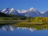 Teton Mountain Range Reflected in the Snake River Reproduction photographique par Ron Watts