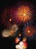 Night Sky Filled with Fireworks Photographic Print by Bill Ross