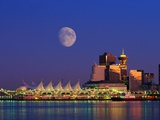 Moon Over Vancouver and Coal Harbor Photographic Print by Ron Watts