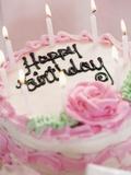 Birthday Cake With Lit Candles Lámina fotográfica por Tom Grill