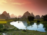 Fishing on the Li River Fotografie-Druck