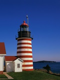 Red and White Striped Lighthouse Photographic Print by Cody Wood