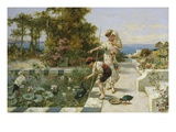Feeding the Ibis at Corsica Giclée-Druck von William Stephen Coleman