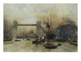Shipping by Tower Bridge, London, England Lámina giclée por Charles Dixon