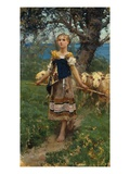 The Young Shepherdess Gicléedruk van Francesco Paolo Michetti