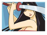 Anime Fighter with Sword Giclee Print by Harry Briggs
