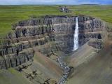 Hengifoss Waterfall Fotografisk tryk af Hans Strand
