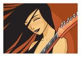 Girl with Guitar Lámina giclée por Harry Briggs