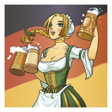 German Barmaid Giclee Print by Harry Briggs