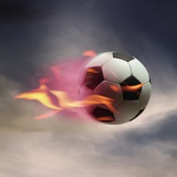 Ballon de foot en flammes  Reproduction photographique