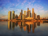 Singapore Skyline at Sunset Photographic Print by Paul Hardy