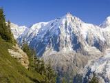 Aiguilles de Mont Blanc, Aguilles du Midi and Glacier des Bosson Photographic Print by Frank Lukasseck