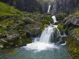 Mossy Waterfall Along the Strandar River Fotografisk tryk af Hans Strand