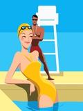 Swimmer Looking at Lifeguard Lámina fotográfica