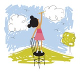 Imaginative little girl Giclee Print by Harry Briggs