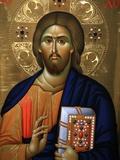 Christ Pantocrator Icon at Aghiou Pavlou Monastery on Mount Athos Fotografie-Druck von Julian Kumar