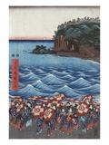 Opening Celebration of Benzaiten Shrine at Enoshima Giclée-tryk af Ando Hiroshige