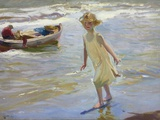 Girl on the Beach Photographic Print by Joaquín Sorolla y Bastida