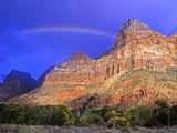 Rainbow, The Watchman, Zion National Park, Utah, USA Photographic Print by Michael Wheatley