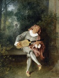 Mezzetin Fotografisk tryk af Jean-Antoine Watteau