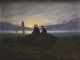 Moonrise over the Sea Valokuvavedos tekijänä Caspar David Friedrich