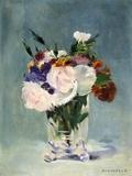 Blumen in einer Glasvase Fotografie-Druck von Edouard Manet