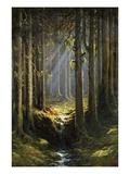Figures by a Woodland Stream Giclee-trykk av Gustave Doré